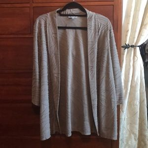 JM Collection 1X tan textured open front cardigan